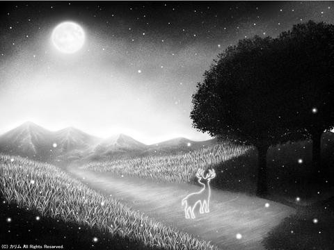 「シルエットアート風景」07「月夜とトナカイと。」(モノクロ)