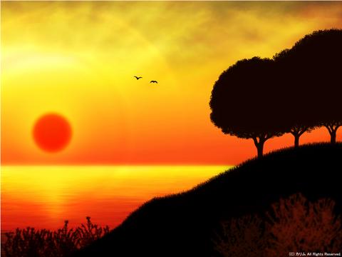 「シルエットアート風景」09「海辺の風景‐夕日を浴びて‐」無断転載無断使用禁止。まとめサイト利用禁止。作品は知的財産権を有します。権利侵害を見掛けましたら通報願います。