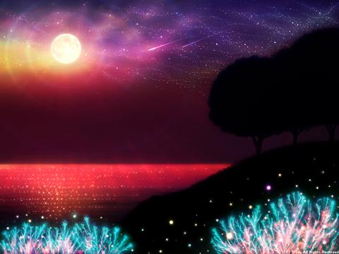 「シルエットアート風景」11「海辺の風景‐夜の帳が下りて‐」(ファンタジー)