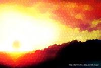 「ステンドグラスな風景」02「夕日」