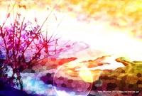 「ステンドグラスな風景」 05「夕焼けの中で」