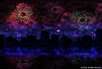 「ステンドグラスな風景」 07「夏の夜空と彩る花火」