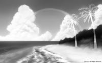 「南の小島と夏の海」