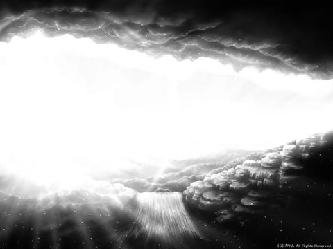 「洞窟のある風景」01「朝日を受けて」(モノクロ)