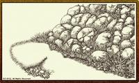 「線画」01「岩と草」