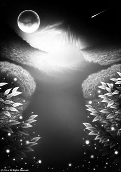 「FANTASY WORLD」「秘境のクリスタル城」(モノクロアート)